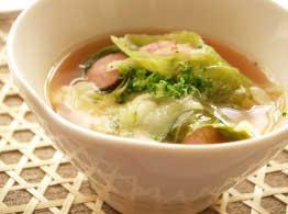ソーセージのガーリックスープ