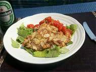 豚肉とブルーチーズのはさみ焼き トマトソース添え